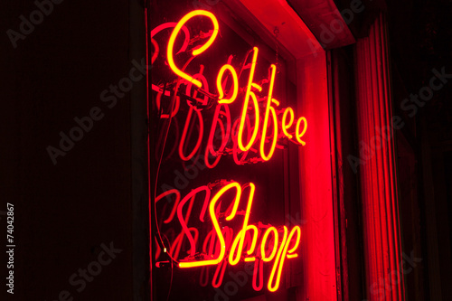 Red Neon Coffee Shop sign left side version