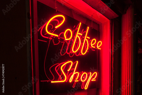 Red Neon Coffee Shop sign left side version closer