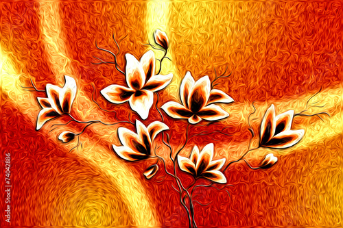 etniczny-retro-obraz-olejny-z-abstrakcyjnymi-kwiatami