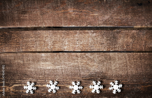 Christmas Rustic Background With White Snowflakes And Free Text