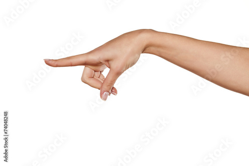 Foto beautiful woman hand pointing a finger in the blank