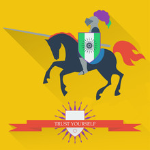 Illustration With Riding On Horseback Brave Knight Made In The T