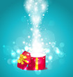 Christmas glowing background with open round gift box