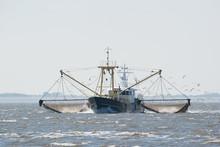 Fishing Boat On Dutch Wadden Sea