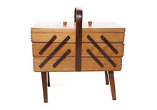 Retro Wooden Sewing Box