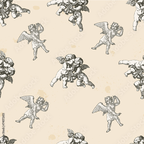 Angels pattern - pattern included into the swatches box Canvas Print
