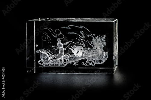 Fotografie, Obraz  Volumetric laser engraving inside the glass.