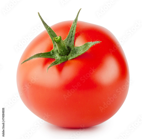 Bright red tomato with handle Fotobehang