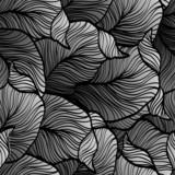 Retro bezszwowy wzór z abstrakcjonistycznymi doodle liśćmi - 74091221