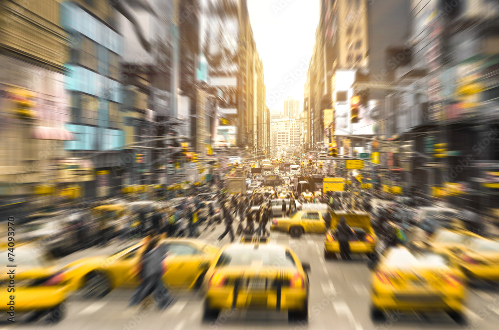 Fototapety, obrazy: Taxi cabs and melting pot people in New York City
