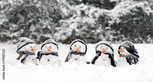 Fotografie, Obraz  Little snowmen in a group