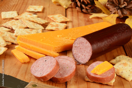 Suasage and cheese