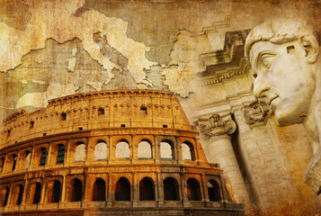Fototapetagreat Roman empire - conceptual collage in retro style