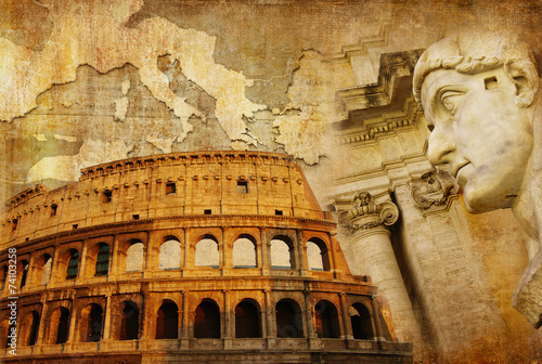 Photo great Roman empire - conceptual collage in retro style