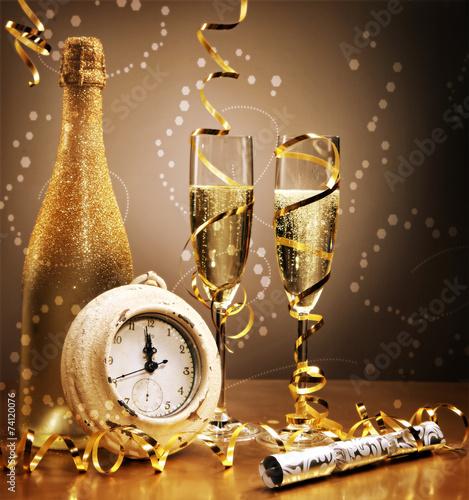 Elegant gold New Year still life