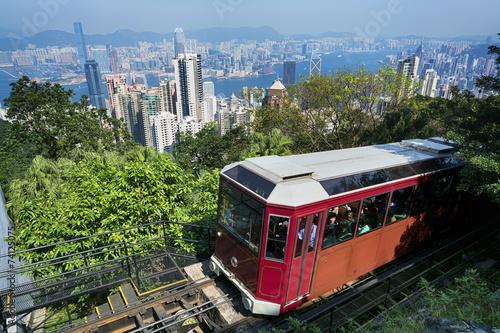 Plakat `Szczytowy tramwajowy` w Hong Kong.