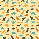 Fototapeta Dinusie - vector set silhouettes of dinosaur, retro pattern background