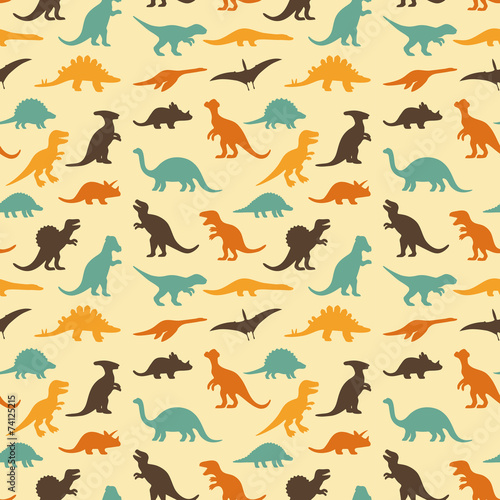 Fotografia, Obraz  vector set silhouettes of dinosaur, retro pattern background