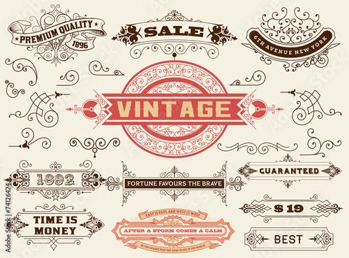 Fotografía  Design elements: Labels, banners, baroque frames and floral orna