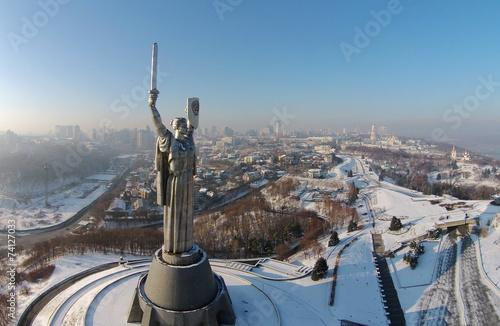 Photo Stands Kiev aerial view of Monument Motherland in Kiev, Ukraine