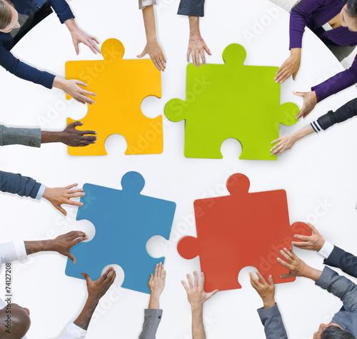 Teamwork Business Team Meeting Unity Jigsaw Puzzle Concept Wall mural