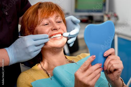 Fotografie, Obraz  Senior woman in the dental office.