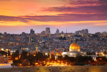 Widok na stare miasto w Jerozolimie. Izrael