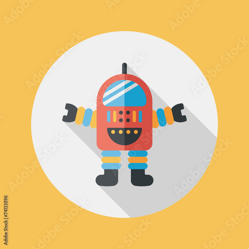 Poster Robots Space robot flat icon with long shadow,eps10