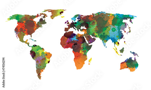 Garden Poster World Map World map water color EPS 10 Vector
