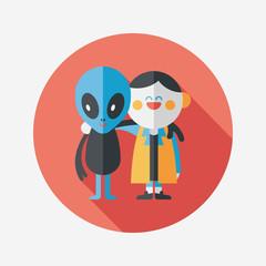 Obraz na płótnie Canvas Space alien friendship flat icon with long shadow,eps10