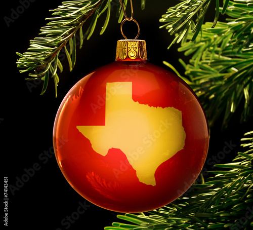Foto op Aluminium Texas Red bauble with the golden shape of Texas