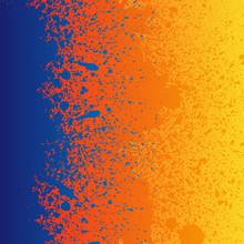 Colorful Blue, Orange And Yellow Paint Splashes Background