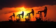 Sunset On Oilfield