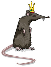 Scary, Black Rat King Character, With Symbolic Golden Crown