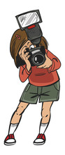 Funny Vector Cartoon Colorfull Girl Makes Photo.isolated Backgro