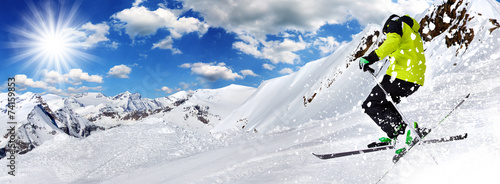 Skier in high mountains #74159853
