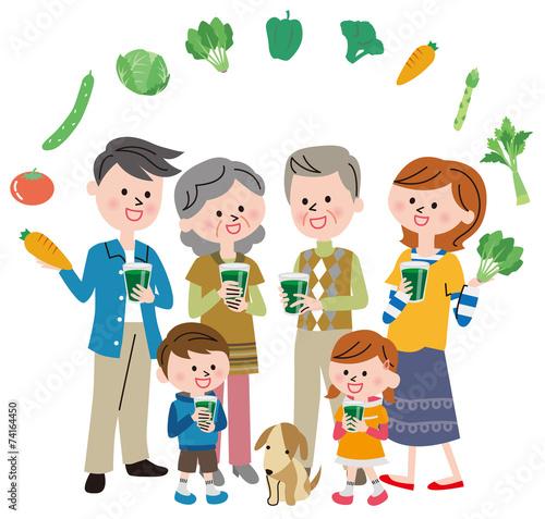 野菜ジュース 家族 Canvas-taulu