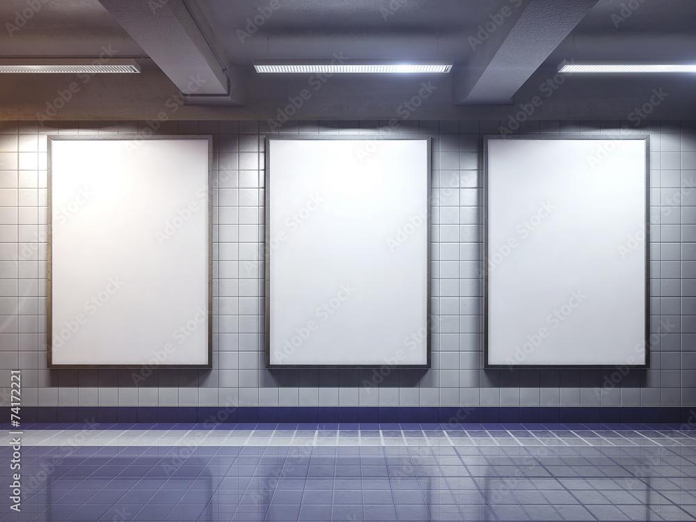 Fototapety, obrazy: white blank billboard poster indoor