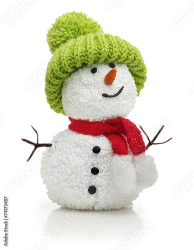 Photo  Snowman in green hat and red scarf