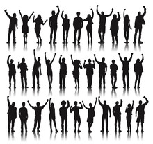 Silhouette Group Of People Sta...