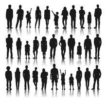 Silhouettes Group Of Diversity People In A Row Concept