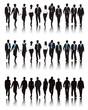 Vector of Multi-ethnic Business People Walking