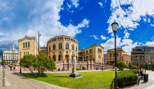 Photo  Norwegian Parliament building in Oslo