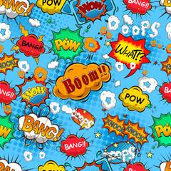 Tapeta Comic speech bubbles seamless pattern vector