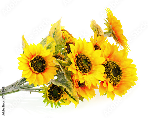 In de dag Zonnebloem Composition of bright artificial sunflowers on white background.