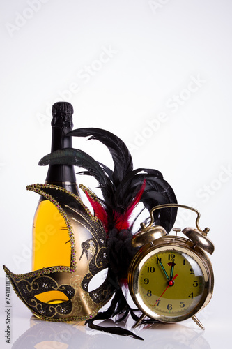 Fotografie, Obraz  Old clock and champagne