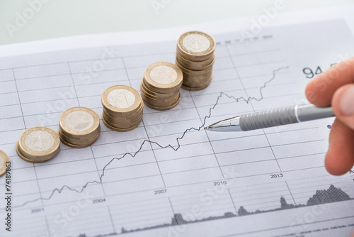 Fotomural Hand With Pen Analyzing Line And Coin Graphs On Desk