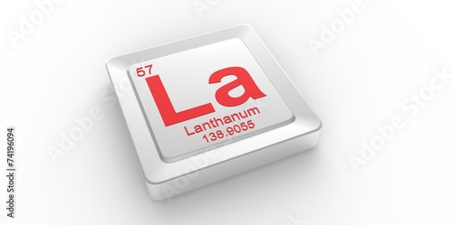 Photo  La symbol 57  for Lanthanum chemical elem of the periodic table