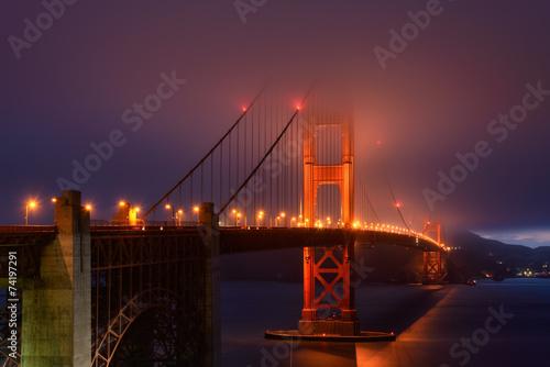 Aluminium Prints Illumination in fog, Golden Gate bridge, San Francisco