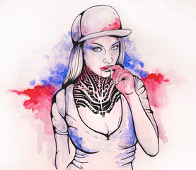 Fototapeta samoprzylepna girl in a cap and tattoos